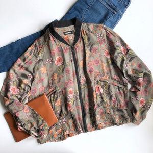 BLANKNYC Floral Print Satin Bomber Jacket